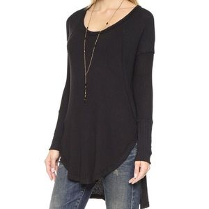 Free People High-Low Hem Waffle-Knit Thermal Tunic